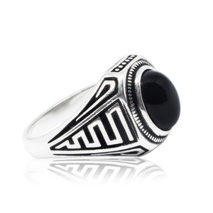925 Sterling Silver Mens Genuine Black Onyx Greek Key Meander Handmade Ring