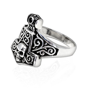 925 Sterling Silver Thor Hammer Mjolnir Viking Norse Skull Gothic Ring - SilverMania925