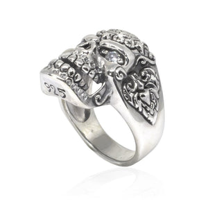 925 Sterling Silver Sugar Flower Skull Clear CZ Eyes Gothic Tattoo Biker Thick Ring