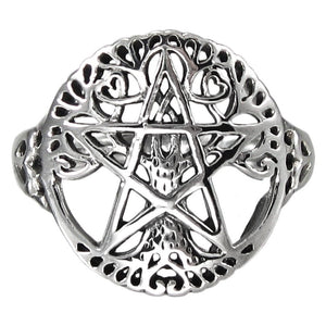 925 Silver Cut Out Ancient Tree Of Life Pentacle Wiccan Pagan Pentagram Ring - SilverMania925