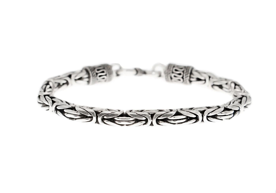 925 Sterling Silver Viking King's Byzantine Solid Bali Handmade Chain Bracelet
