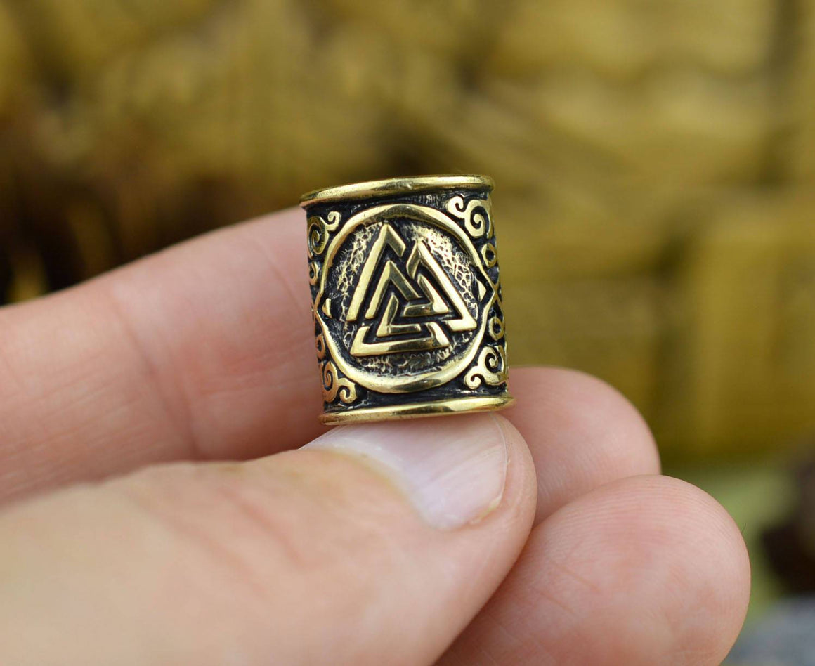 Bronze Viking Beard Bead Dreadlocks With Valknut and Celtic Ornament