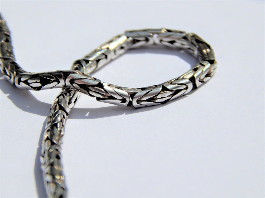 925 Sterling Silver Viking King's Necklace Byzantine Chain - SilverMania925