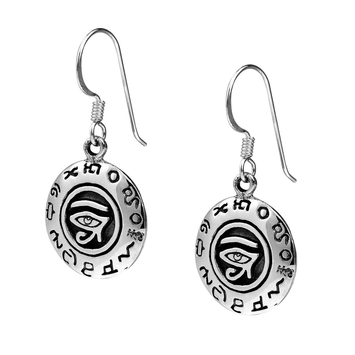 925 Sterling Silver Egyptian Eye of Horus Ra Udjat Dangle Earrings Set - SilverMania925
