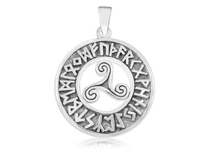 Sterling Silver Celtic Triskele Triskelion Norse Viking Runes Futhark Pendant - SilverMania925
