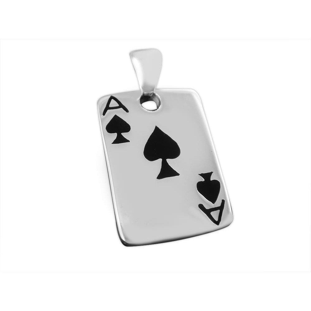 925 Sterling Silver Ace of Spades Casino Las Vegas Card Game Lucky Charm Pendant
