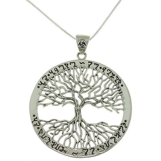 925 Sterling Silver Ornate Ancient Script Engraving Tree of Life Charm Pendant - SilverMania925