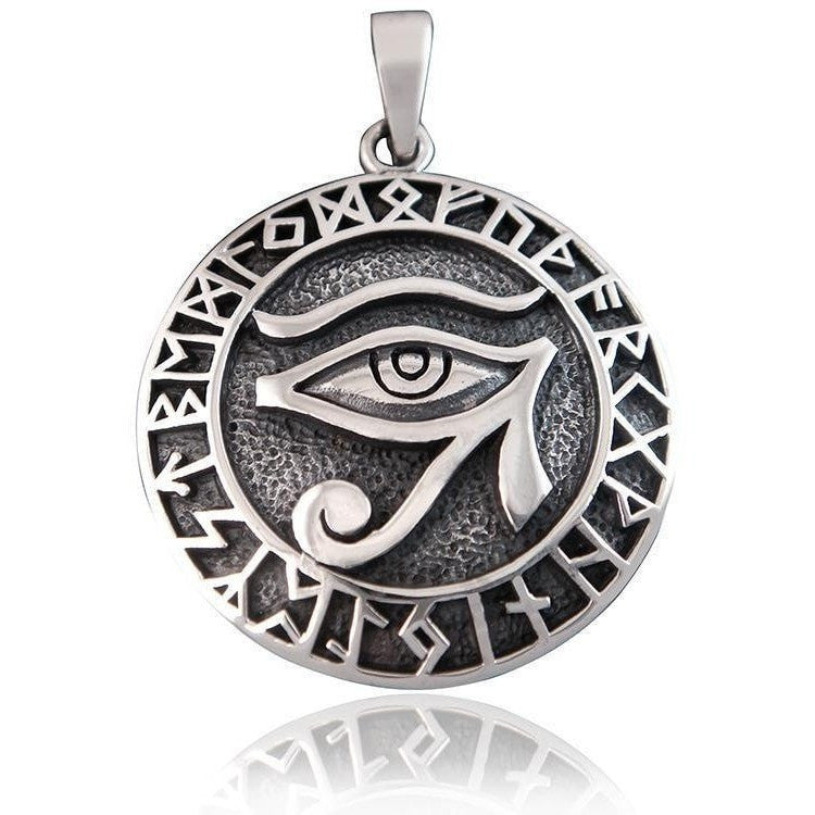 925 Sterling Silver Egyptian Eye of Horus Nordic Norse Runes Runic Charm Pendant