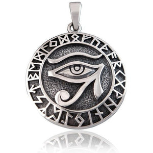 925 Sterling Silver Egyptian Eye of Horus Nordic Norse Runes Runic Charm Pendant - SilverMania925