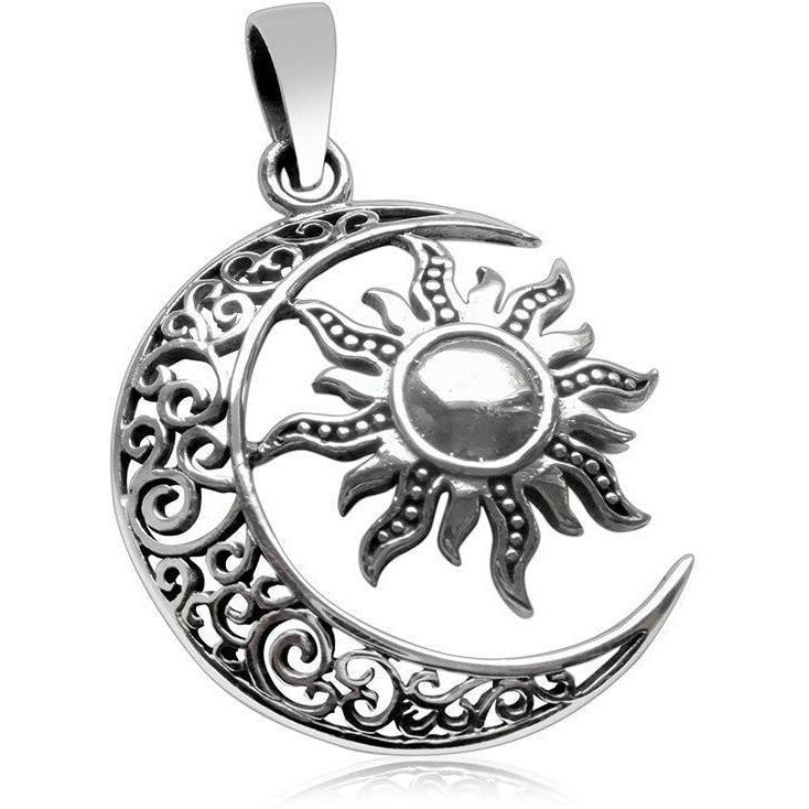 925 Sterling Silver Sun Moon Filigree High Polish Round Charm Pendant - SilverMania925