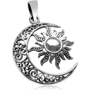 925 Sterling Silver Sun Moon Filigree Celtic Knotwork Round Charm Pendant - SilverMania925