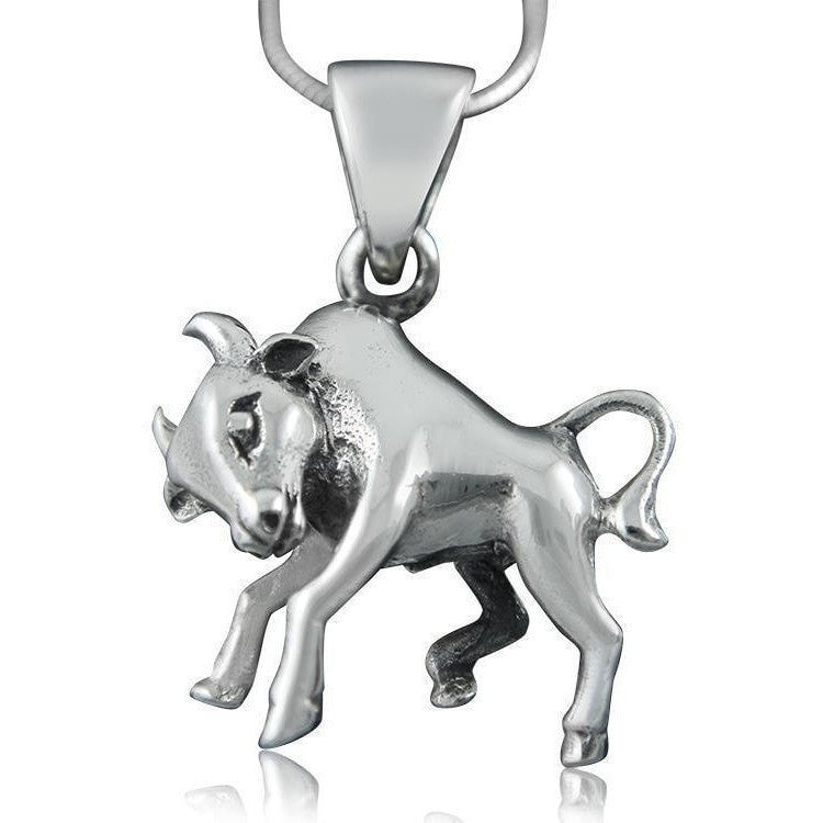 925 Sterling Silver Zodiac Astrology Star Horoscope Sign Taurus Bull Pendant