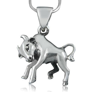 925 Sterling Silver Zodiac Astrology Star Horoscope Sign Taurus Bull Pendant - SilverMania925