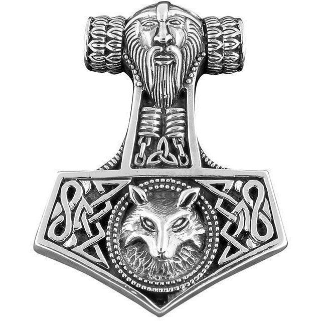 925 sterling silver viking wolf thor hammer mj lnir. Black Bedroom Furniture Sets. Home Design Ideas