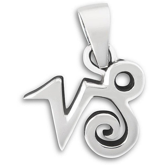 925 Sterling Silver Zodiac Astrology Horoscope Sign Capricorn Charm Pendant - SilverMania925