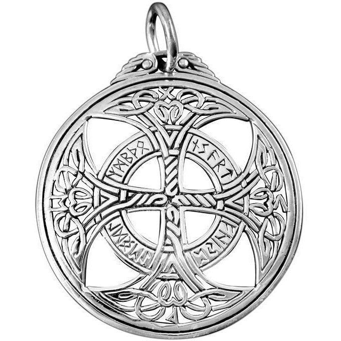 925 Sterling Silver Celtic Knights Templar Iron Cross Norse Runes Runic Pendant - SilverMania925