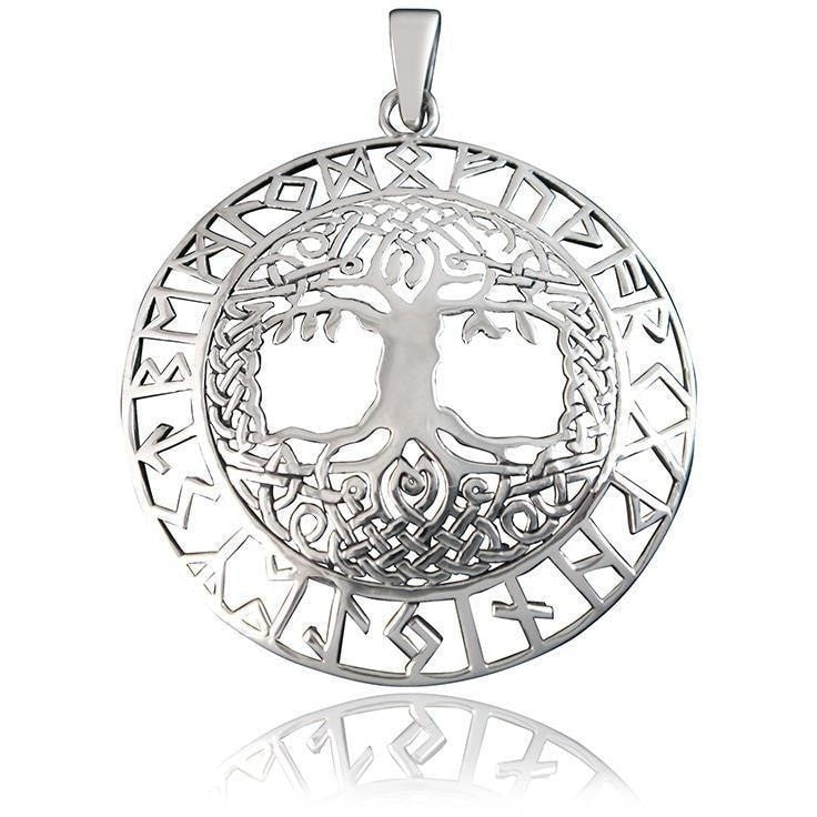 925 Sterling Silver Celtic Tree of Life Nordic Norse Runes Runic Charm Pendant - SilverMania925