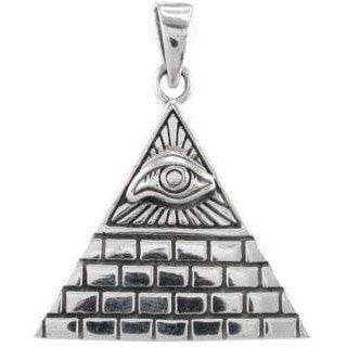 925 Sterling Silver Egyptian Eye Egypt Pyramid Giza Illuminati Charm Pendant - SilverMania925