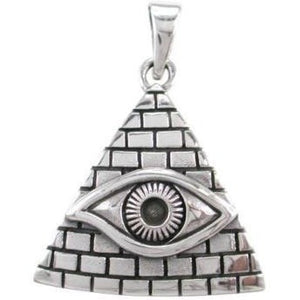 925 Silver Egyptian Pyramid All-Seeing Evil Eye Illuminati Protection Pendant - SilverMania925