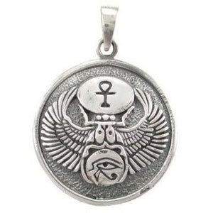 925 Sterling Silver Egyptian Eye of Horus Udjat Egypt Ankh Scarab Charm Pendant - SilverMania925