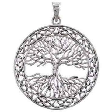 925 Sterling Silver Celtic Irish Infinity Knots Tree of Life Big Pendant 9gr - SilverMania925