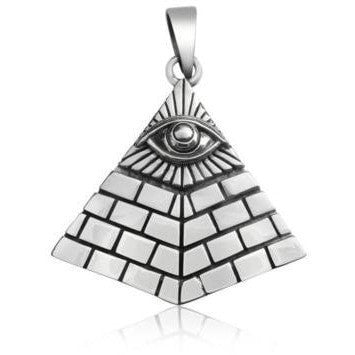 925 Sterling Silver Pyramid Egyptian Eye of God Horus Double Illuminati Pendant