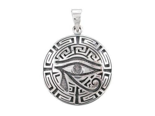 Sterling Silver Egyptian Eye Horus Wedjat Udjat Greek Key Meander Charm Pendant - SilverMania925