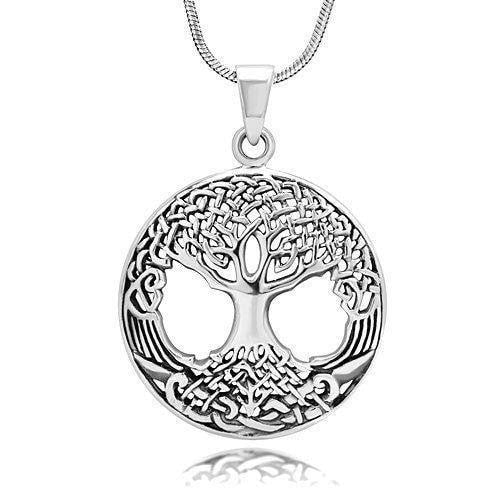 925 Sterling Silver Ornate Celtic Knots Family Tree of Life Round Charm Pendant - SilverMania925
