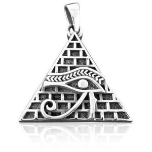 925 Sterling Silver Eye Horus Egypt Pyramid Giza Illuminati Magic Charm Pendant - SilverMania925