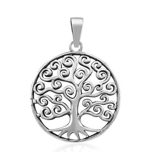 925 Sterling Silver Celtic Tree of Life Filigree Eternal Round Charm Pendant - SilverMania925