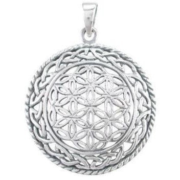 925 Sterling Silver Celtic Infinity Knots Flower of Life Sacred Geometry Pendant - SilverMania925