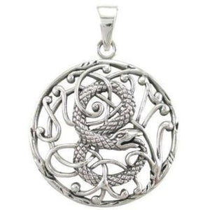 925 Sterling Silver Ouroboros Snake Infinity Eating Tail Filigree Charm Pendant - SilverMania925