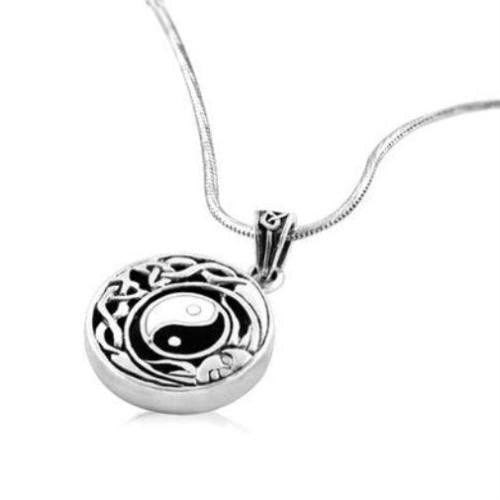 925 Sterling Silver Ying Yang Tai Chi Celtic Knot Flowing Sun Face Charm Pendant