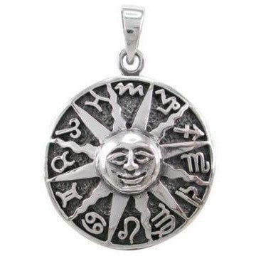 925 Sterling Silver Sun Face Zodiac Star Sign Symbols Horoscope Charm Pendant - SilverMania925