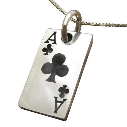 925 Sterling Silver Ace of Clubs Poker Casino Las Vegas Card Game Lucky Pendant - SilverMania925