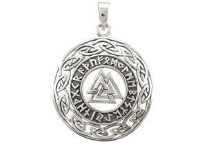 Sterling Silver Celtic Infinity Knots Runes Runic Norse Valknut Viking Pendant - SilverMania925