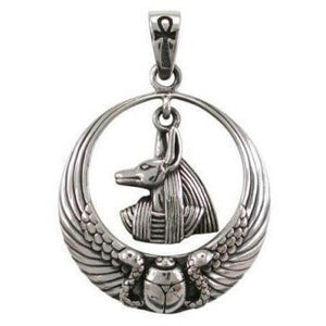925 Sterling Silver Egyptian Egypt Anubis God Ankh Scarab Wings Charm Pendant - SilverMania925