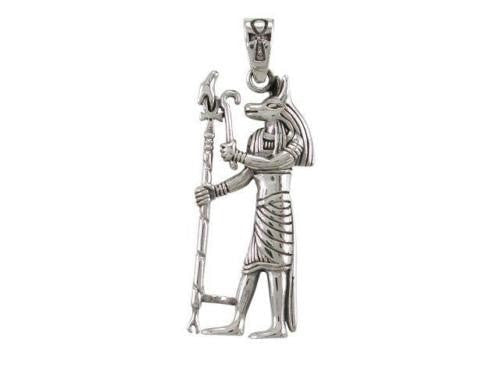 Sterling Silver Egyptian Anubis God of the Dead Underworld Ankh Jackal Pendant - SilverMania925