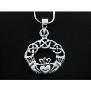 925 Sterling Silver Celtic Irish Claddagh Charm Pendant - SilverMania925