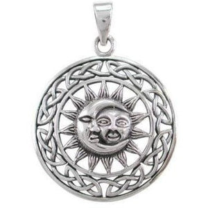 925 Sterling Silver Sun Crescent Moon Faces Celtic Infinity Knots Charm Pendant - SilverMania925