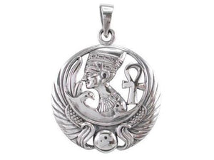 Sterling Silver Egyptian Queen Egypt Nefertiti Pharaoh Ankh Scarab Charm Pendant - SilverMania925