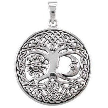 925 Sterling Silver Sun Crescent Moon Faces Celtic Tree Of Life Round Pendant - SilverMania925