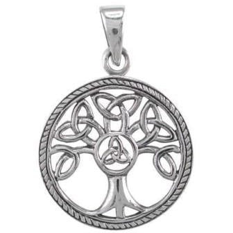 925 Sterling Silver Celtic Irish Knots Family Tree of Life Round Charm Pendant - SilverMania925