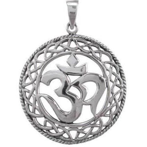 925 Sterling Silver Om Ohm Aum Hindu Spiritual Celtic Infinity Knots Pendant - SilverMania925