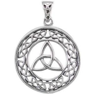 925 Sterling Silver Celtic Infinity Knots Trinity Triquetra Round Charm Pendant - SilverMania925