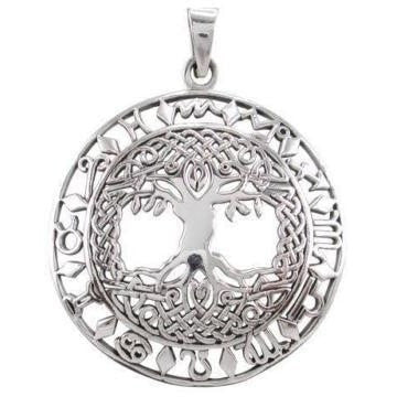925 Sterling Silver Celtic Knots Tree of Life Zodiac Star Sign Horoscope Pendant - SilverMania925