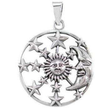 925 Sterling Silver Sun Crescent Moon Face Sky Stars Heaven Lovely Charm Pendant