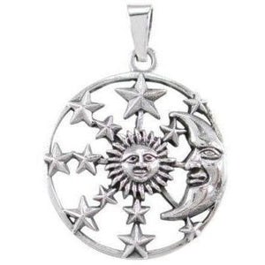 925 Sterling Silver Sun Crescent Moon Face Sky Stars Heaven Lovely Charm Pendant - SilverMania925