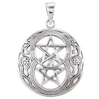 925 Sterling Silver Chalice Well Symbol of Avalon Glastonbury Double Pentagram Charm Pendant - SilverMania925