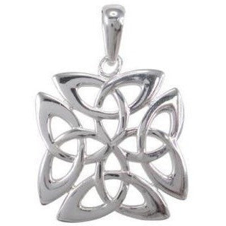925 Sterling Silver Celtic Irish Knots Knot Square Charm Pendant 22mm - SilverMania925